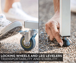 locking wheels and leg levelers